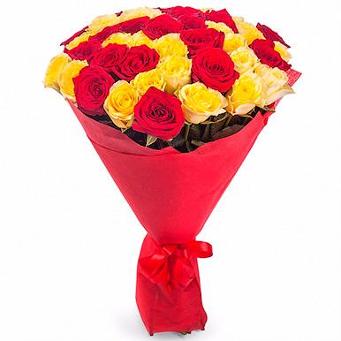51 красно-желтая роза