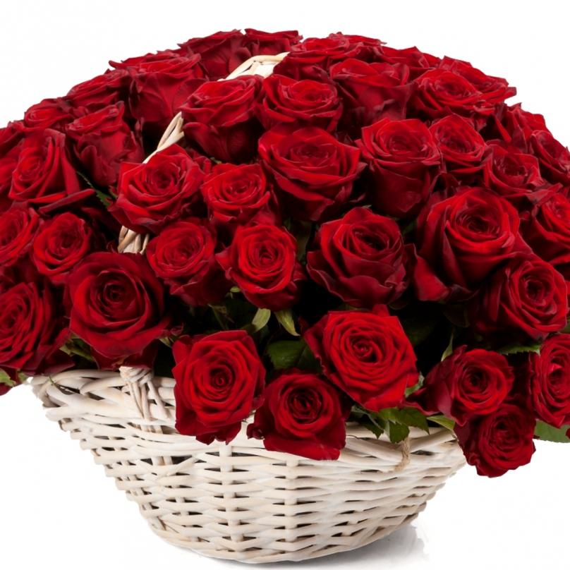 Фото 101 бордовая роза в корзине
