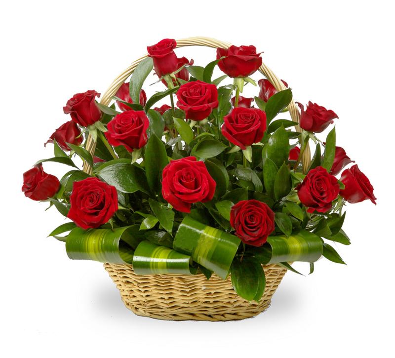 Фото Корзина с красной розой и зеленью