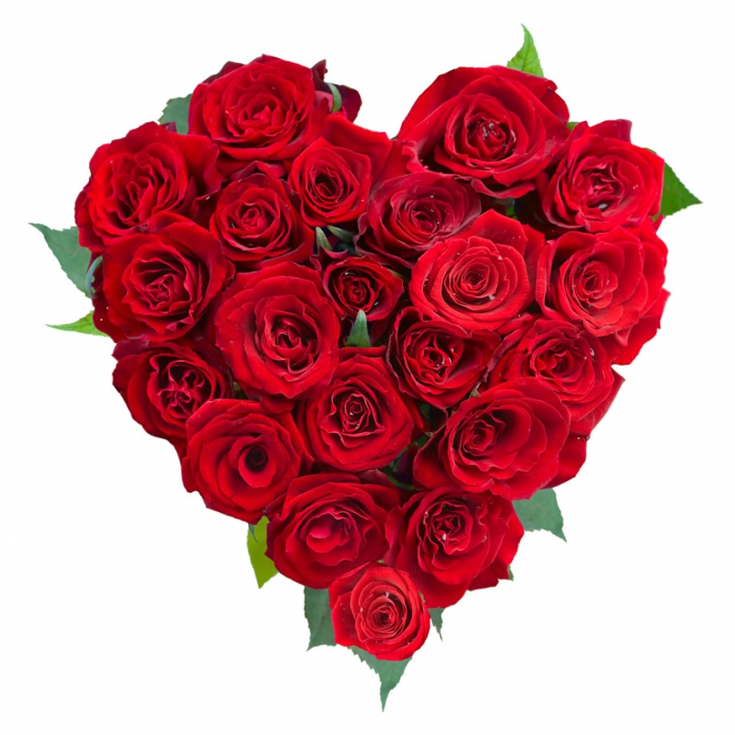 Фото Мини композиция в форме сердца из красных роз