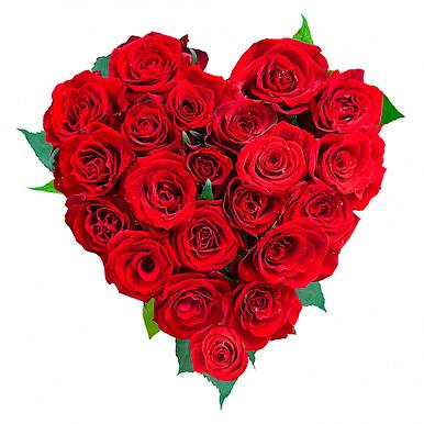Мини композиция в форме сердца из красных роз