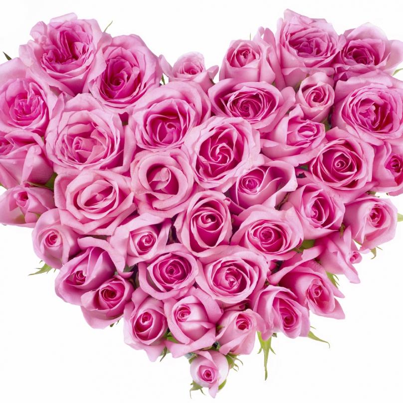 Фото Мини композиция в форме сердца из розовых роз