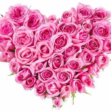 Мини композиция в форме сердца из розовых роз