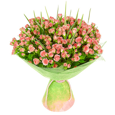 35 кустовых розовых роз с зеленью
