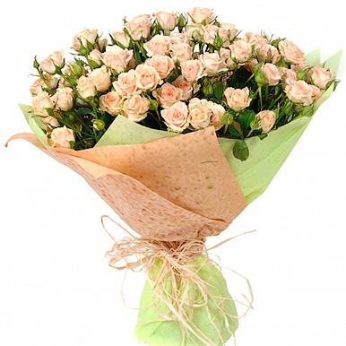 25 нежно-розовых кустовых роз