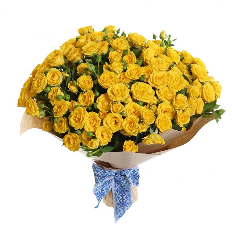 Фото 25 желтых кустовых роз
