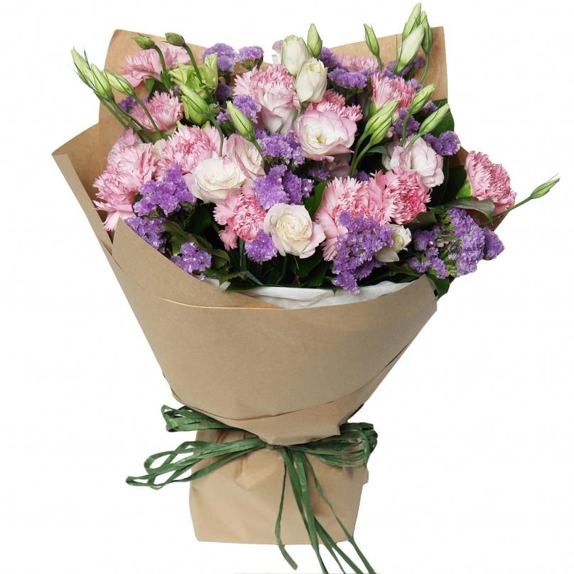 Фото Букет из кустовой розы,гвоздики и лизиантуса