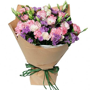 Букет из кустовой розы,гвоздики и лизиантуса