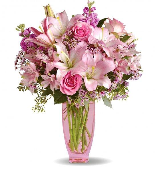 Фото Букет с розовой лилией и розой