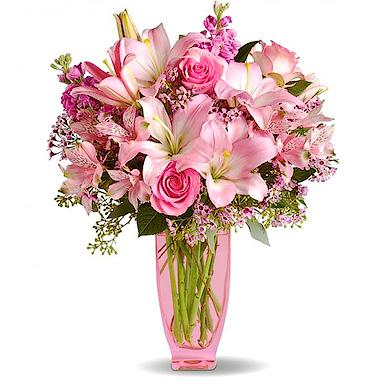 Букет с розовой лилией и розой