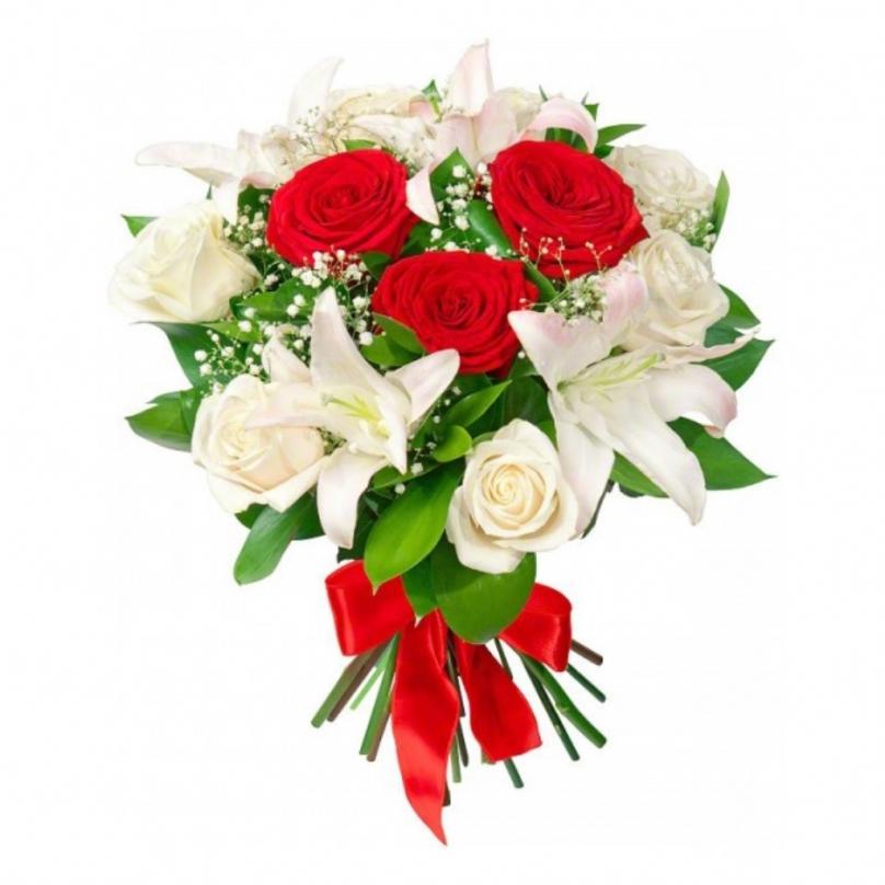 Фото Букет с белой лилией и розами микс