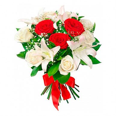 Букет с белой лилией и розами микс