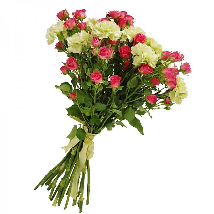 Фото Букет с гвоздикой и кустовой розовой розой