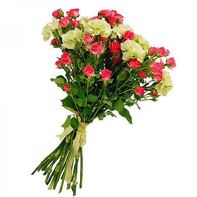 Букет с гвоздикой и кустовой розовой розой
