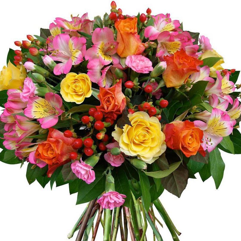 Фото Букет с кустовой гвоздикой, розой микс и альстромериеей