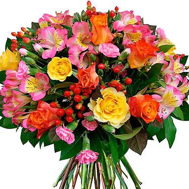 Букет с кустовой гвоздикой, розой микс и альстромериеей