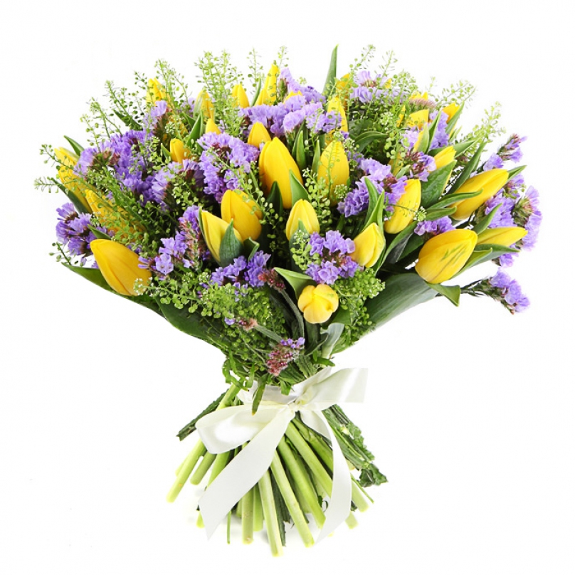 Фото 51 желтый тюльпан с зеленью