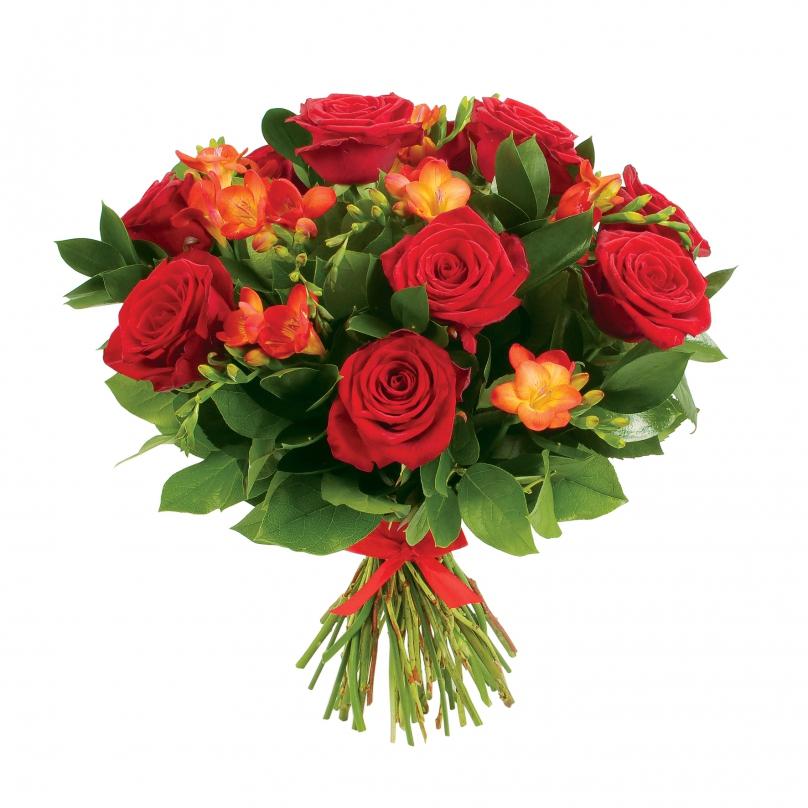 Фото Букет из красных роз и фрезий с зеленью
