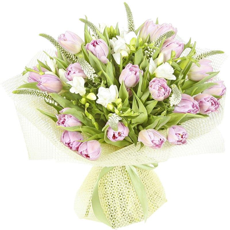 Фото Букет из белой фрезии,тюльпанов и вероники