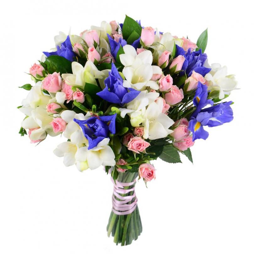 Фото Букет с фрезиями, кустовыми розами и ирисами