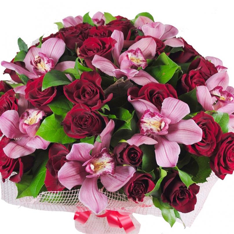 Фото Букет с розовой орхидеей и красной розой