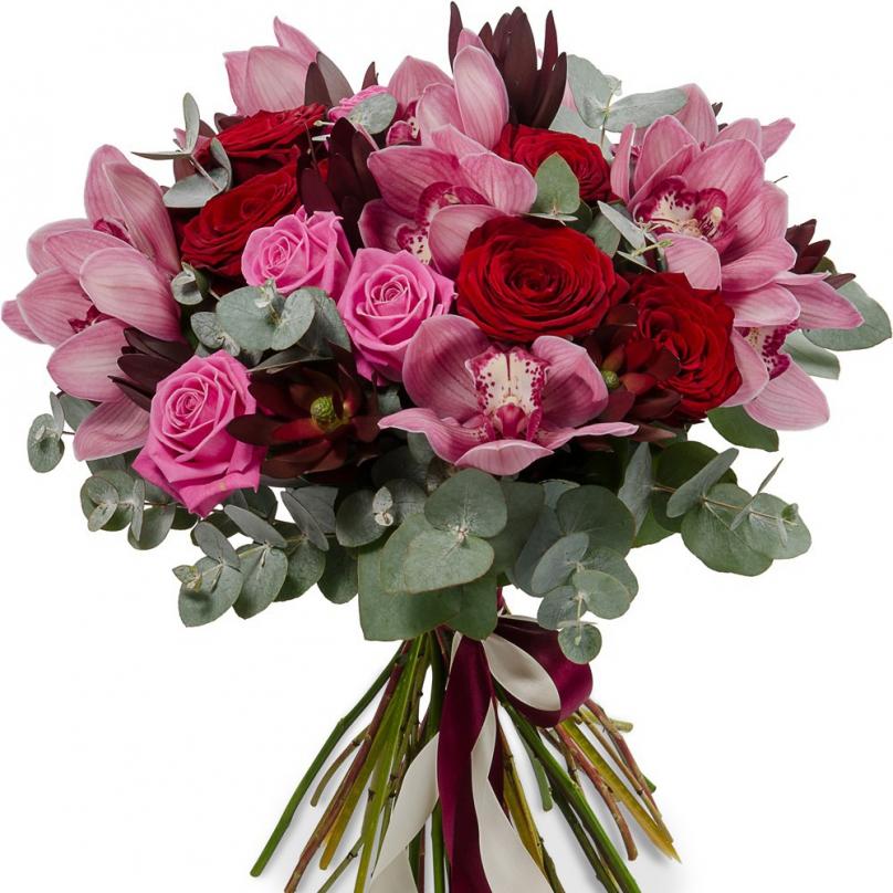 Фото Букет с орхидеями, розами микс и эвкалиптом