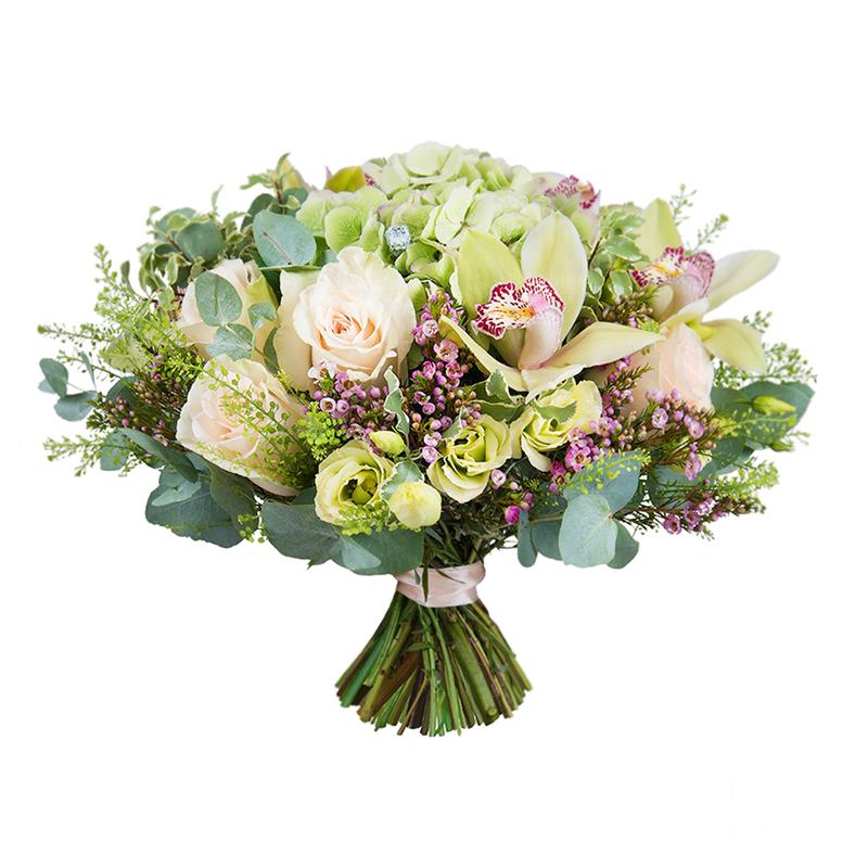 Фото Букет с орхидеей, гортензией и розой