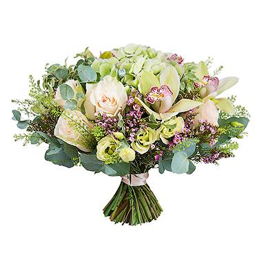 Букет с орхидеей, гортензией и розой