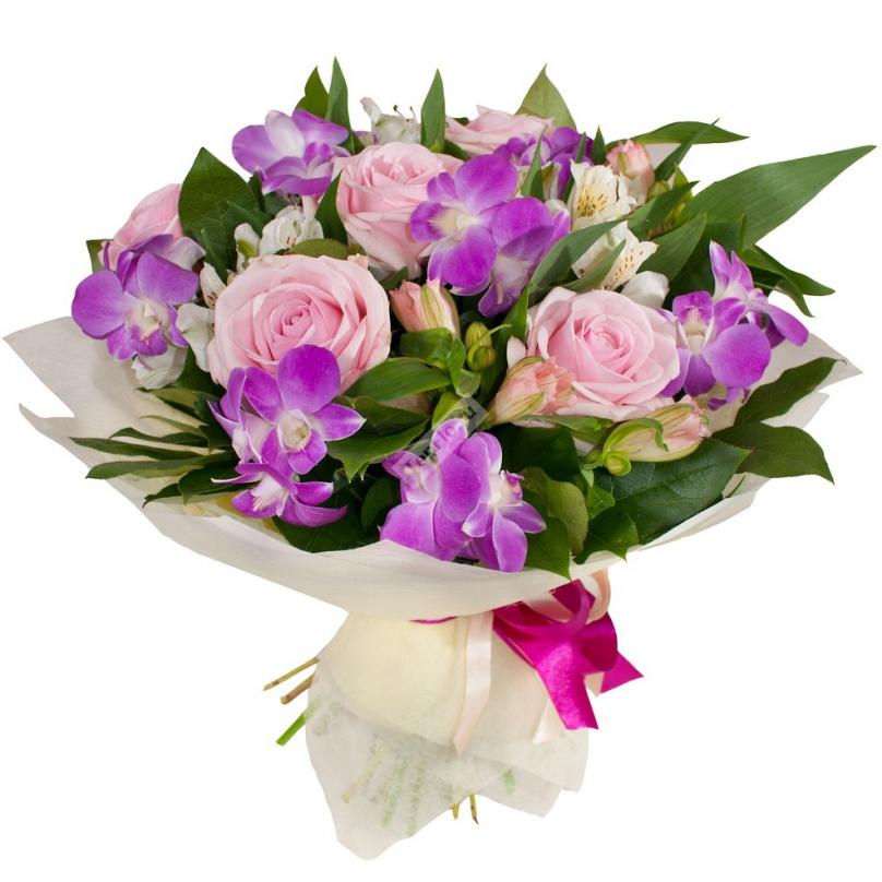 Фото Букет с дендробиумом и розовой розой