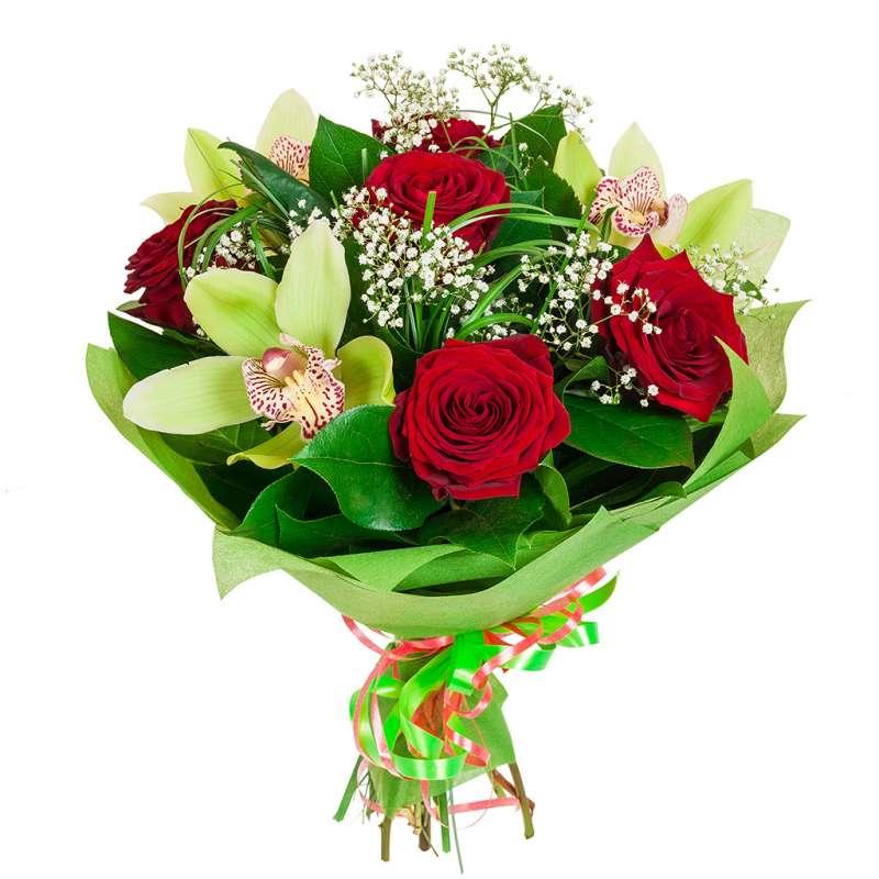 Фото Букет с орхидеей, красной розой и зеленью