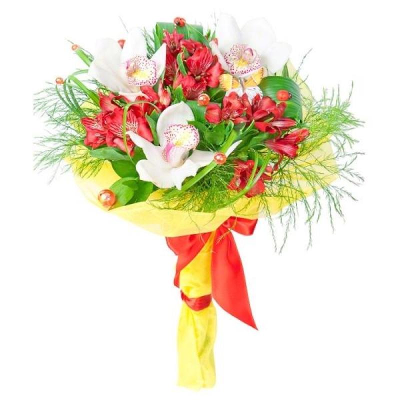 Фото Минибукет с орхидеей и альстромерией