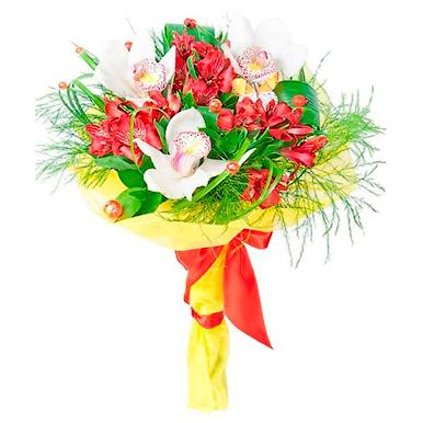 Минибукет с орхидеей и альстромерией