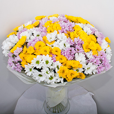 Букет из 45 кустовых хризантем микс
