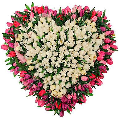 151 тюльпан микс в форме сердца