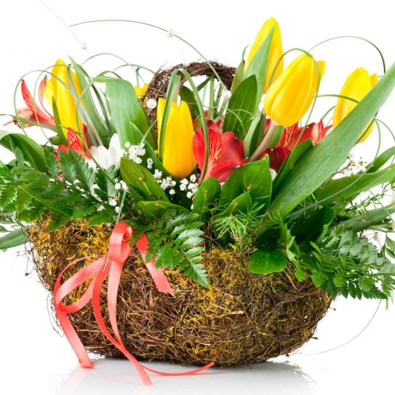 Фото Кашпо с тюльпанами и альстромерией