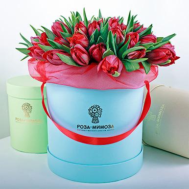 Красные тюльпаны в голубой коробке