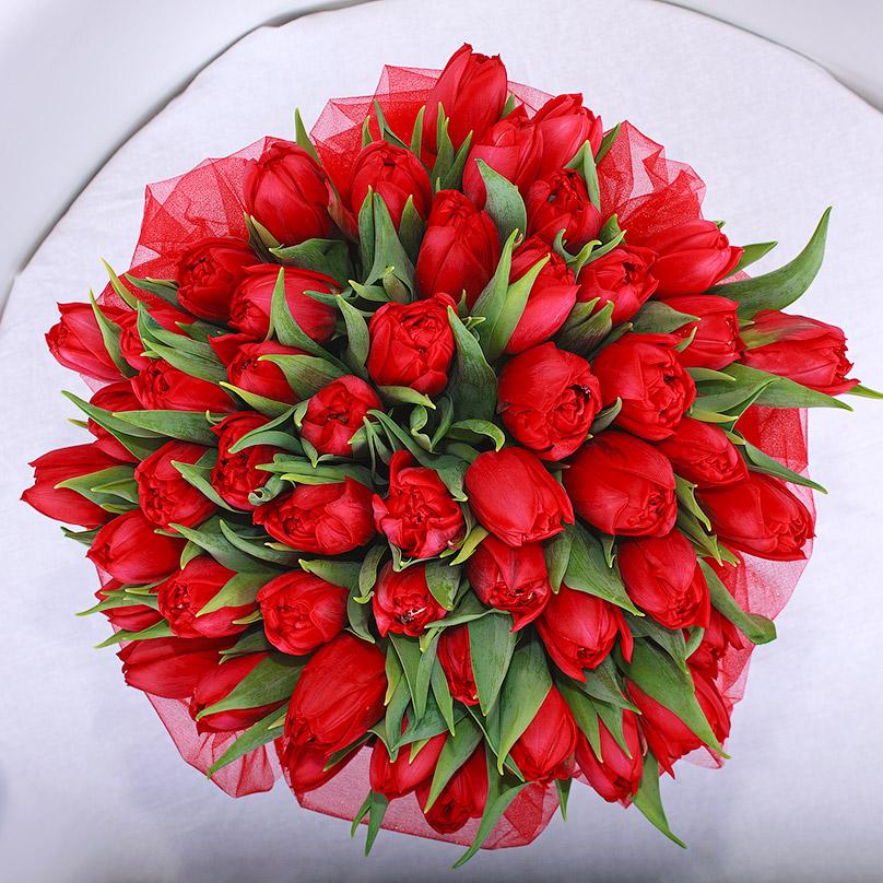 Фото Красные тюльпаны в черной коробке