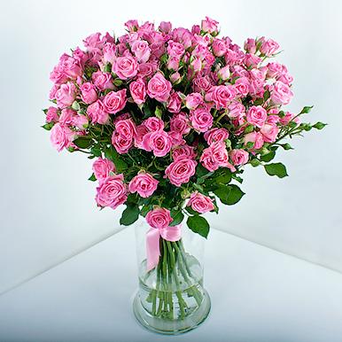 19 розовых кустовых роз