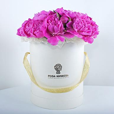 Розовые пионы в белой коробке