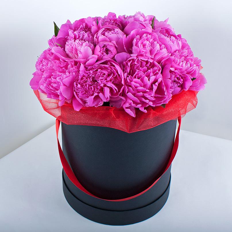 Фото Розовые пионы в черной коробке