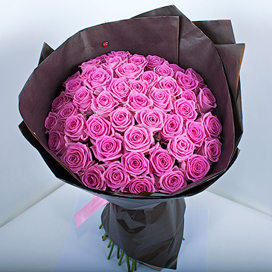 51 розовая роза «Аква» в крафте