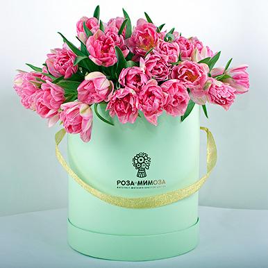 49 розовых пионовидных тюльпанов в коробке