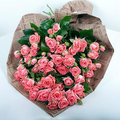 19 кораловых кустовых роз
