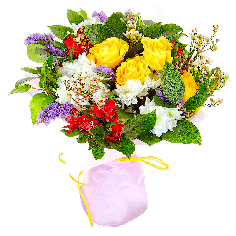 Фото Букет с розами и хризантемами
