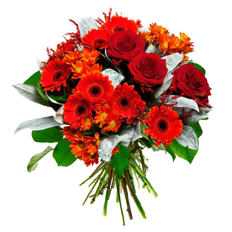 Фото Букет из красных минигербер и роз