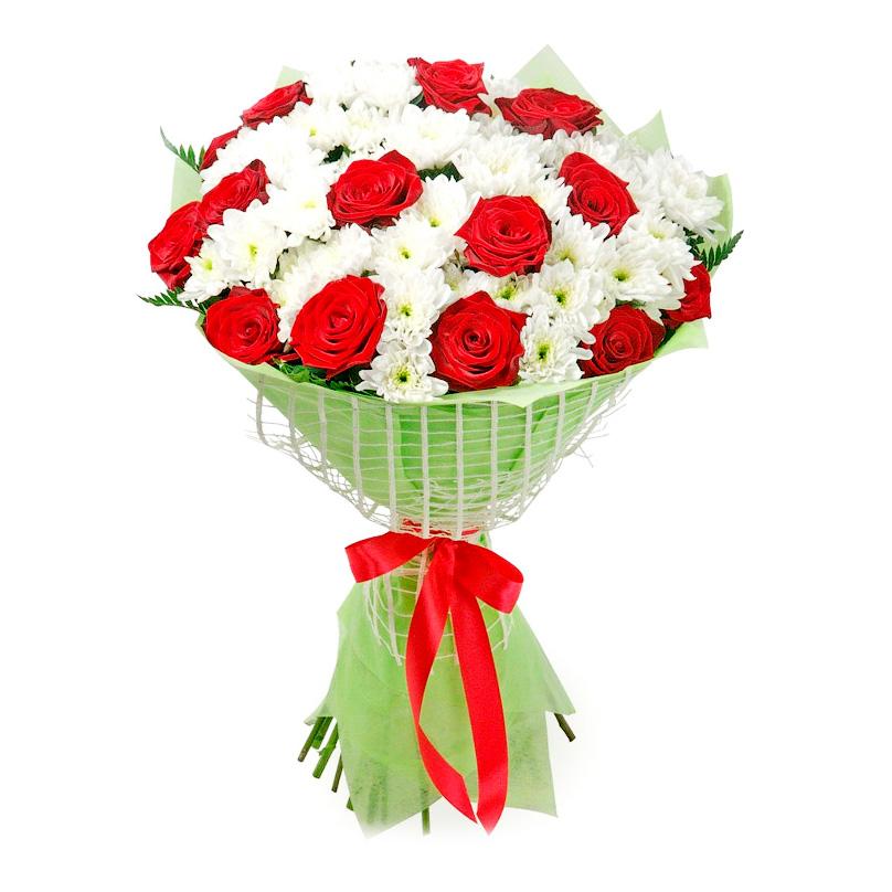 Фото Букет из хризантем с розами