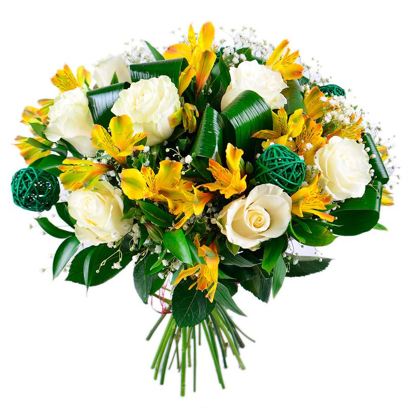 Фото Букет из белых роз и альстромерий