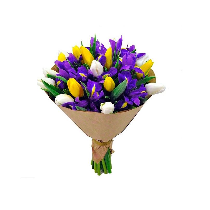 Фото Букет из тюльпанов и ирисов