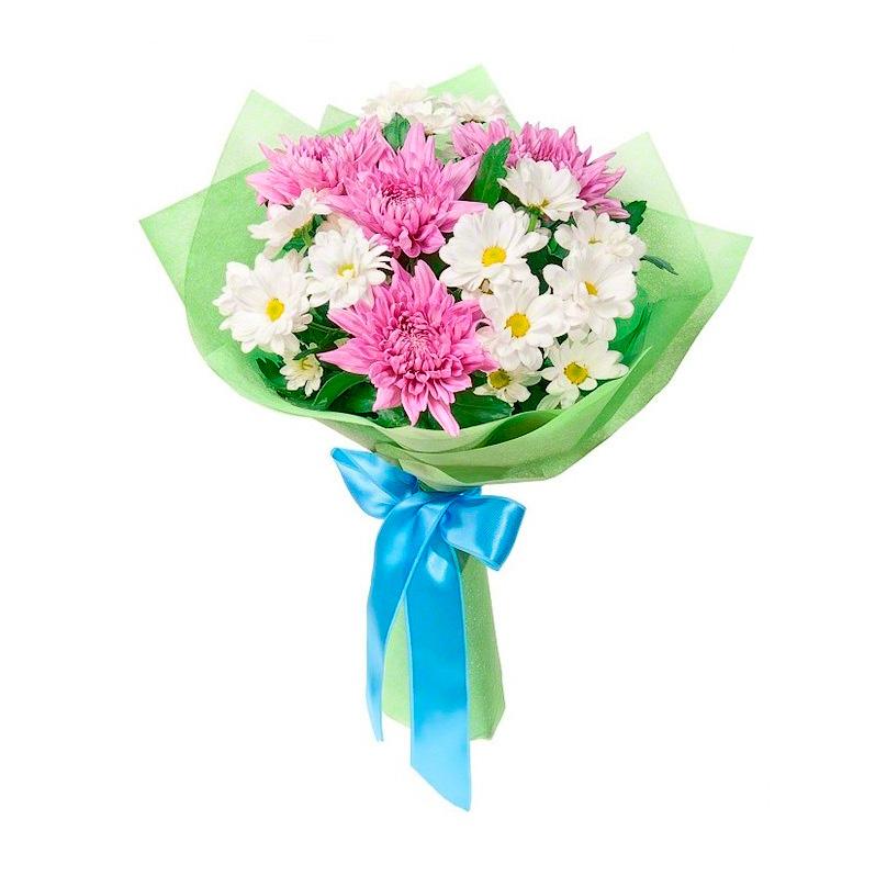 Фото Букет из розовых и белых хризантем