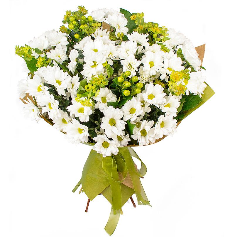 Фото Букет с кустовыми хризантемами
